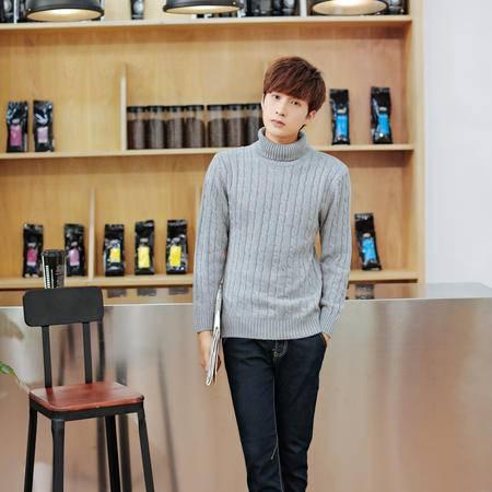 mssefn男装新款高领毛衣 男士修身韩版针织衫 潮