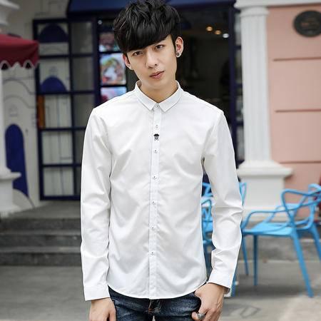 mssefn秋季男装衬衫纯色长袖衬衫休闲修身黑衬衣男小清新