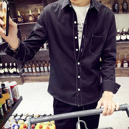 mssefn秋装新款男士韩版修身长袖衬衫