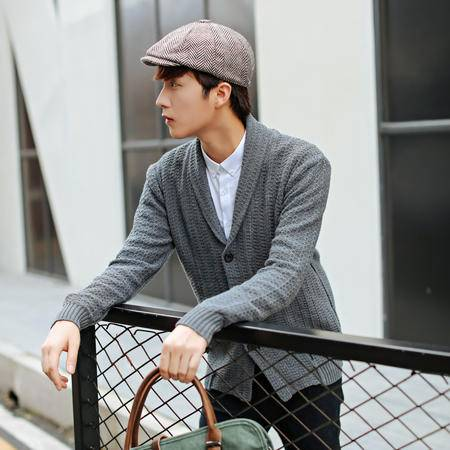 mssefn男装新款翻领开衫 男士韩版针织衫 潮