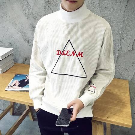 mssefn秋装新款青少年时尚灯芯绒个性印花男士套头卫衣