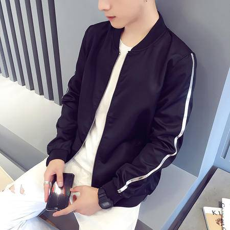 mssefn秋季新款青少年日系时尚简约纯色修身单边潮男夹克