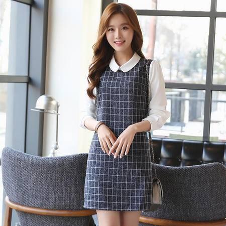 MSSEFN秋 韩时尚甜美格子拼接娃娃领假两件修身中长款连衣裙