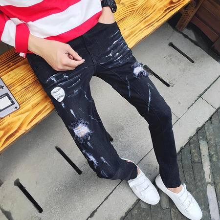 mssefn 2016秋季新款日系个性小脚裤时尚潮流破洞长牛仔裤