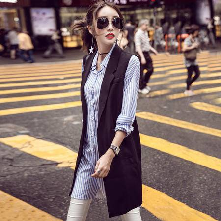 mssefn2016秋季韩版时尚口袋无袖中长款马甲