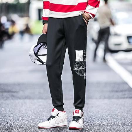 mssefn秋季新款韩版大码青少年时尚个性涂鸦运动裤男士收口卫裤