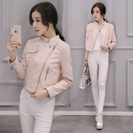 mssefn秋韩时尚甜美纯色拉链拼接立领修身百搭短款显瘦皮衣外套