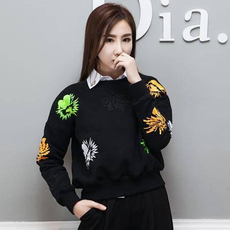 mssenf2016春秋新款刺绣花朵卫衣