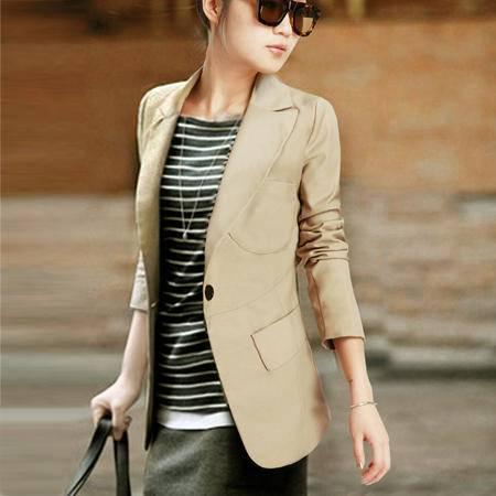 mssefn2016秋季韩版一粒扣西装领长袖修身小西装外套