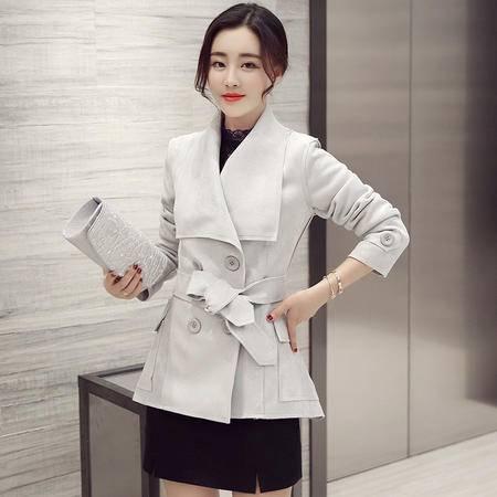 mssefn2016秋季新款女装韩版时尚修身中长款大翻领风衣外套女