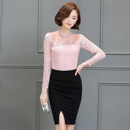 mssefn秋 韩时尚甜美网纱拼接立领修身显瘦百搭蕾丝衫