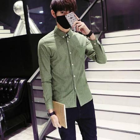 mssefn2016秋季新款68纯棉格子纯棉衬衣日系修身青年长袖衬衫