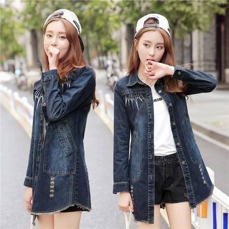 mssefn2016秋季爆款女装韩日流行时尚休闲修身牛仔风衣外套女