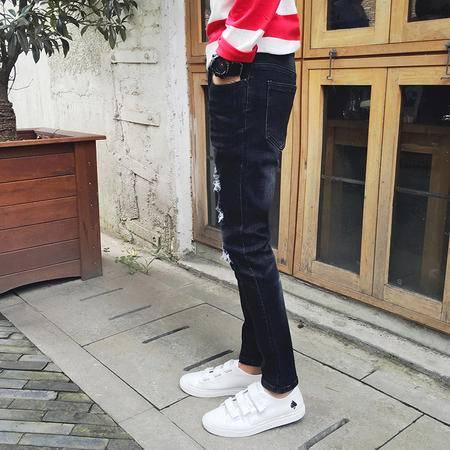 mssefn 2016秋季新款韩版修身小脚裤时尚个性乱刮破洞长牛仔裤