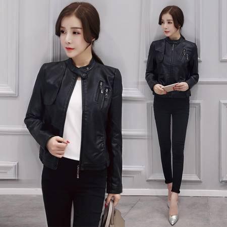 mssefn秋韩时尚个性立领拼接拉链pu皮百搭修身皮衣短款外套
