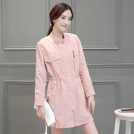 mssefn新款2016拉链纯色口袋修身中长款秋季短外套