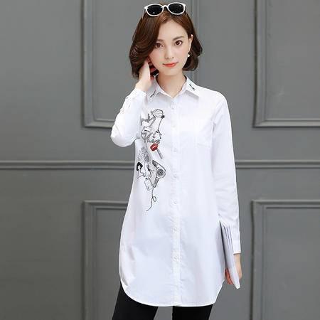 MSSEFN新款2016纯色长袖中长直筒单排多扣POLO领秋季衬衫