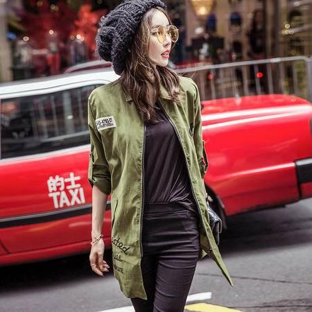 mssefn潮流韩版字母2016秋新款POLO领长袖时尚中长款风衣