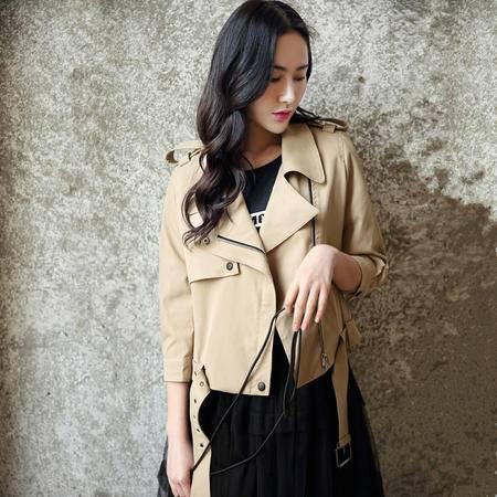 mssefn2016秋装新款女装时尚宽松短款上衣薄外套风衣
