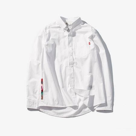 MSSEFN全棉 侧口袋复古碎花白衬衫