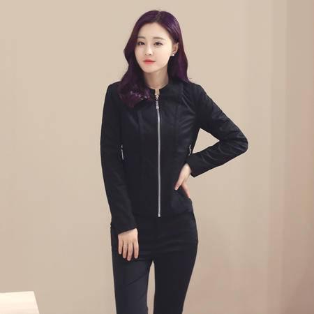 mssefn2016韩版新款秋季纯色拉链长袖修身短外套
