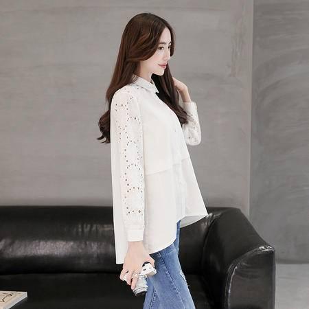 mssefn2016秋季韩版新款长袖宽松不规则下摆衬衫