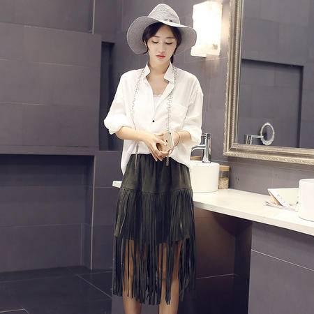MSSEFN2016秋季女装新款宽松衬衫 流苏半身裙两件套气质套裙