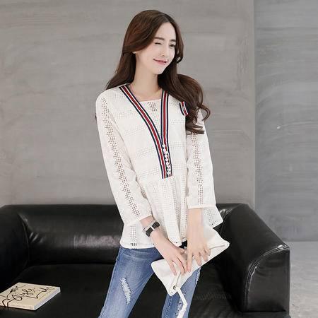 mssefn2016秋季韩版新款长袖宽松套头简约蕾丝衫T恤打底衫