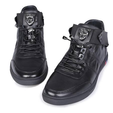 mssenf秋季暗黑高帮板鞋韩版真皮休闲男鞋金属