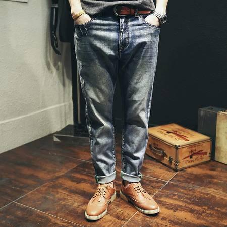 mssefn加大码四季日系纯色牛仔裤