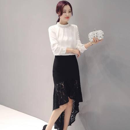 mssefn2016秋季韩版时尚圆领修身收腰鱼尾半身裙两件套