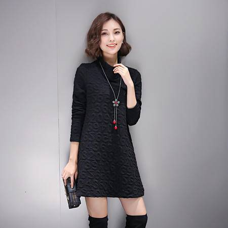 mssefn2016秋装新品宽松显瘦数字时尚高领棉针织连衣裙