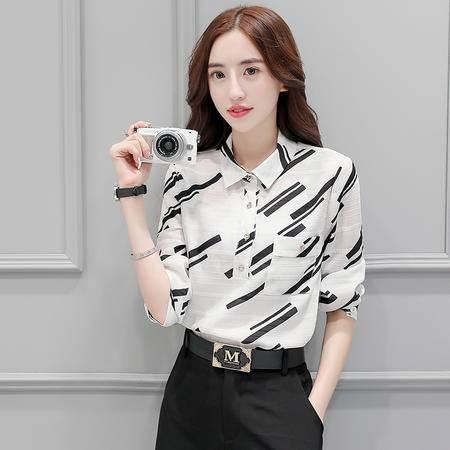 mssefn2016秋季韩版修身宽松优雅九分袖衬衫