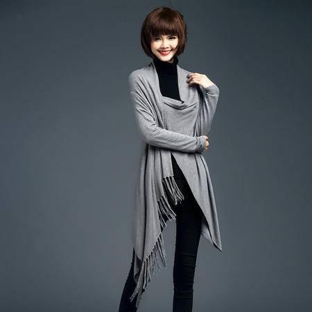 mssefn2016韩版秋季纯色时尚修身宽松长袖V领针织开衫长款毛衣