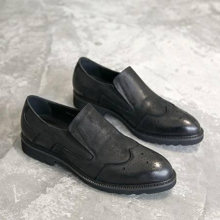 mssefn英伦布洛克雕花潮男鞋真皮复古做旧懒人休闲牛皮鞋子