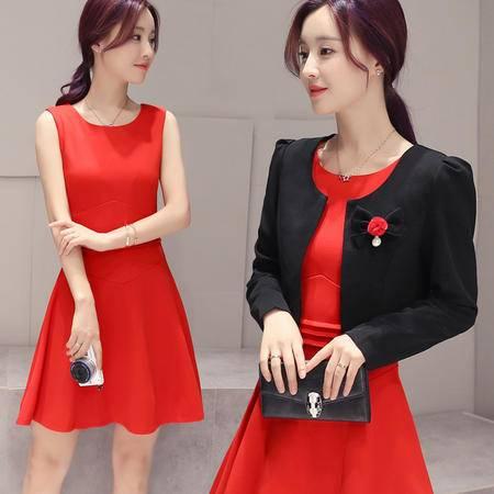 mssefn2016秋装新品优雅气质小外套 显瘦修身连衣裙两件套潮