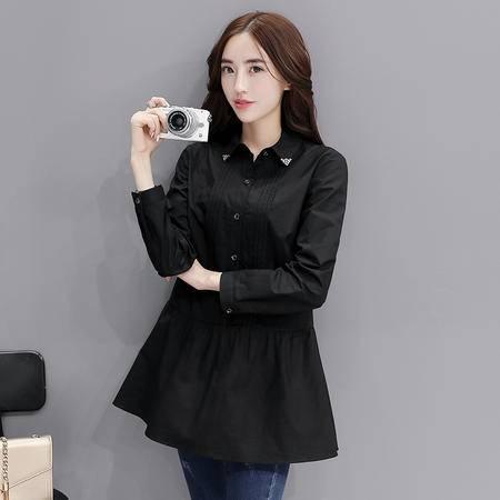 mssefn2016秋季韩版新款纯色时尚修身长袖衬衫