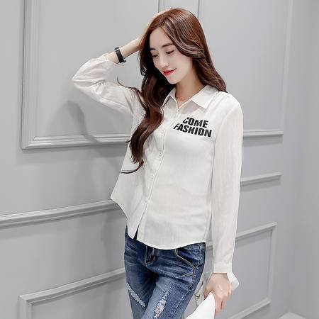 mssefn2016秋季长袖字母时尚单排多扣优雅显瘦修身衬衫