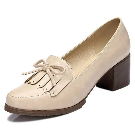 mssefn专柜正品 圆头浅口女鞋 粗跟高跟鞋