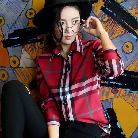 mssefn新款2016气质经典格纹秋季棉衬衫