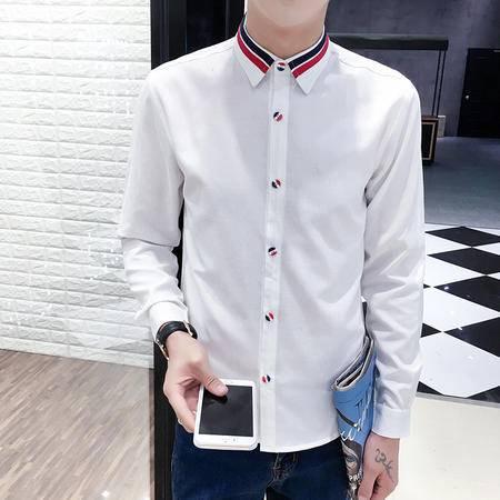 mssefn新款港仔风男士韩版修身长袖衬衫