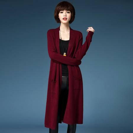 mssefn2016韩版秋季纯色时尚修身宽松长袖针织开衫长款毛衣