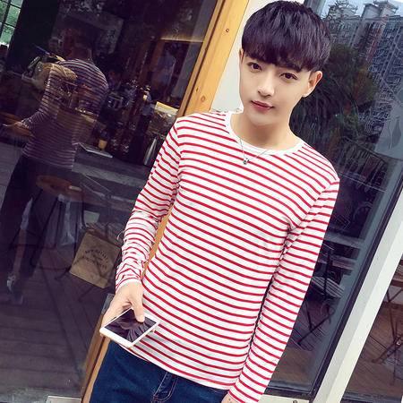 mssefn秋装t恤男士圆领条纹长袖韩版修身男装打底衫