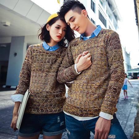 mssefn韩版情侣修身套头毛衣个性女生圆领针织毛线衣