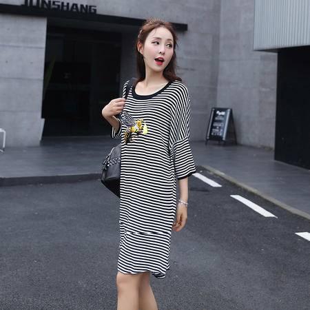 mssefn2016秋装新款长袖鱼尾连衣裙条纹