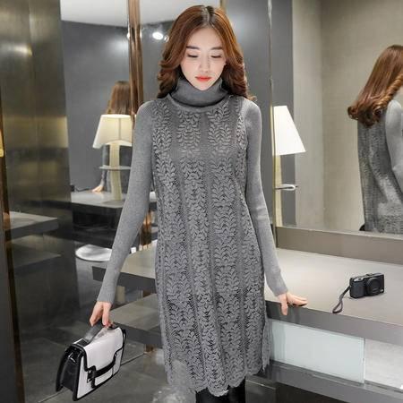 mssefn2016秋季时尚韩版修身针织打底衫蕾丝衫两件套
