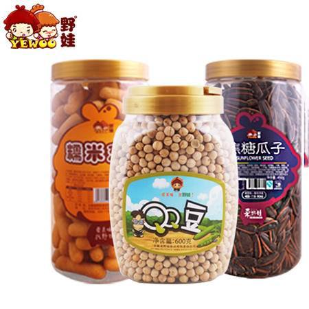 野娃休闲零食套餐组合1350g 焦糖瓜子+京果+豌豆