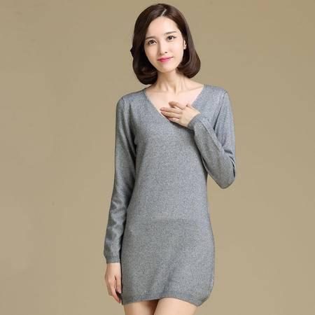 新款女士羊绒衫 中长款V领羊毛衫 秋冬长款打底毛针织衫 大款毛衣