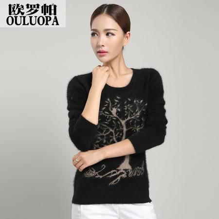 女士贴身貂绒针织衫 时尚韩版套头毛衣黑色提花保暖打底衫 包邮