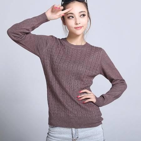 韩版新款女士羊绒针织衫电脑提花小麻花羊毛衫套头修身打底衫